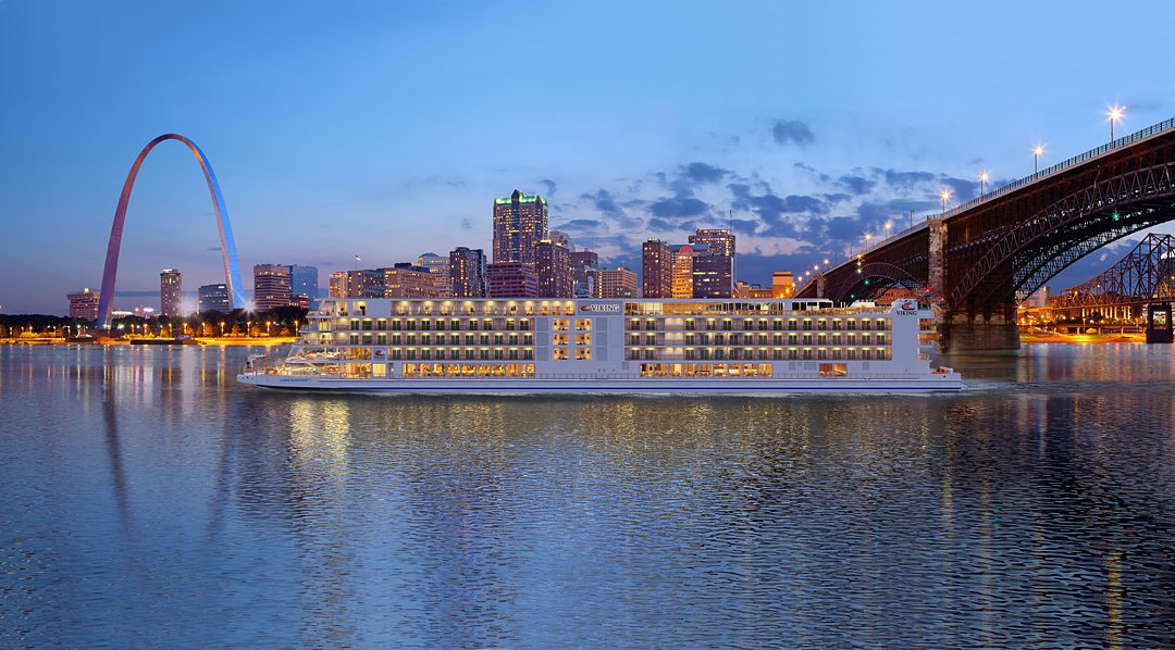 Rendering of the Viking Mississippi river cruise ship with the St. Louis arch.