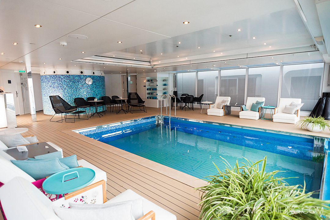 Emerald Waterways river cruise ship indoor pool with retractable roof.