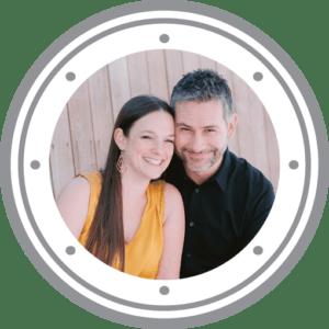 A woman and man couple inside a graphic porthole.