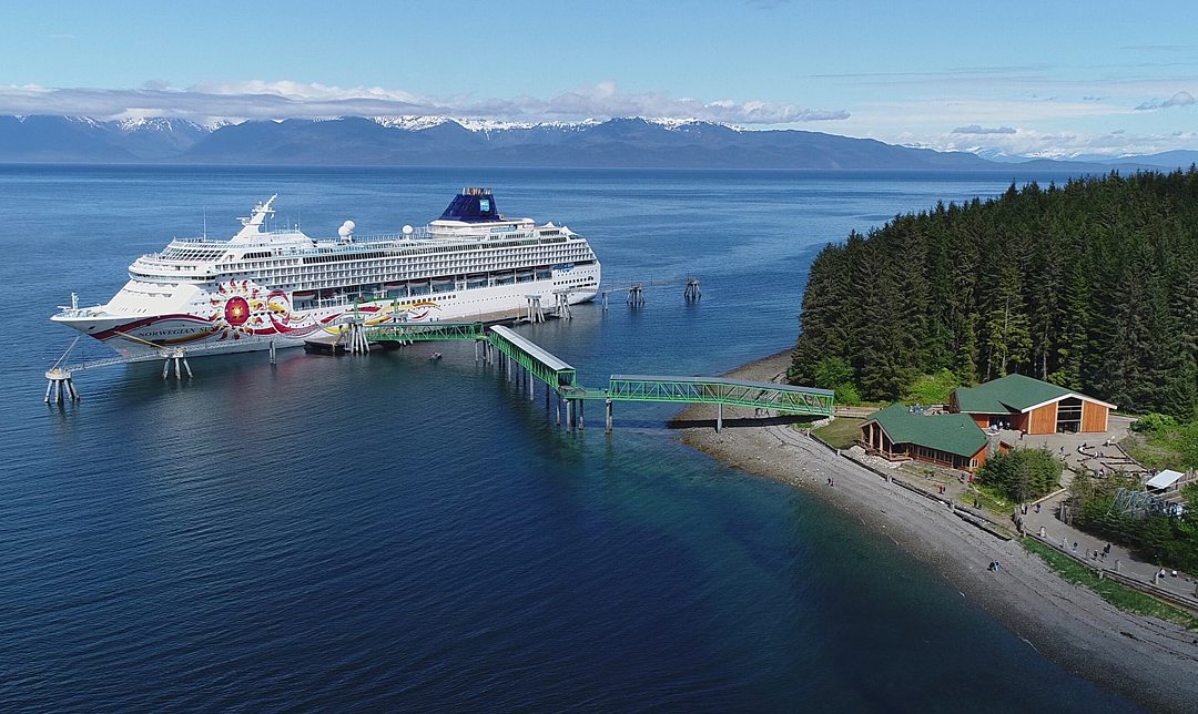 View of a cruise ship on the berth of Icy Strait Point in Hoonah, Alaska